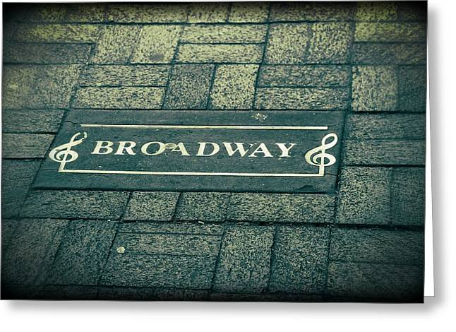Nashville Downtown Greeting Cards - Broadway Greeting Card by Dan Sproul