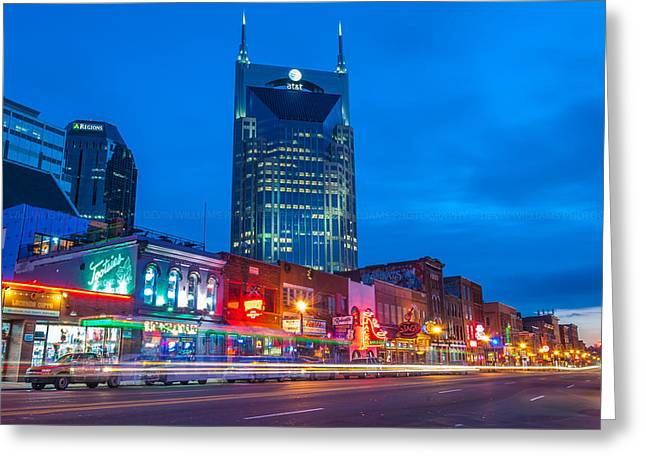 Nashville Tennessee Pyrography Greeting Cards - Broadway Greeting Card by Devin Williams