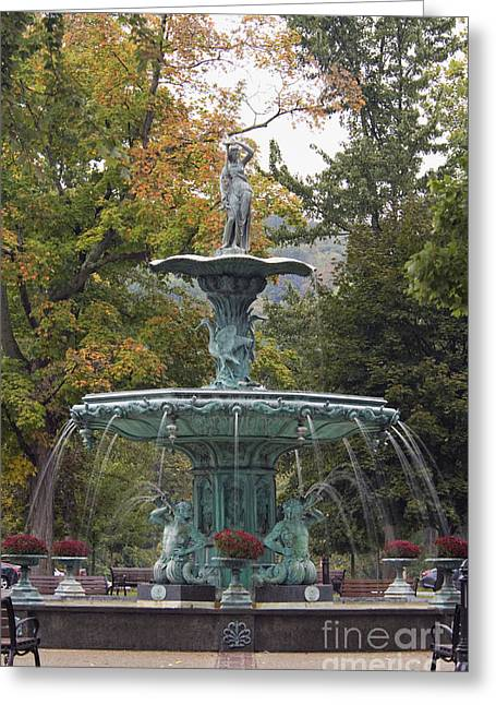 Indiana Autumn Greeting Cards - Broadway Fountain - D008593 Greeting Card by Daniel Dempster