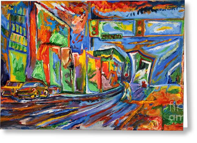 Synesthesia Greeting Cards - Broadway in the Rain Greeting Card by Dillon James
