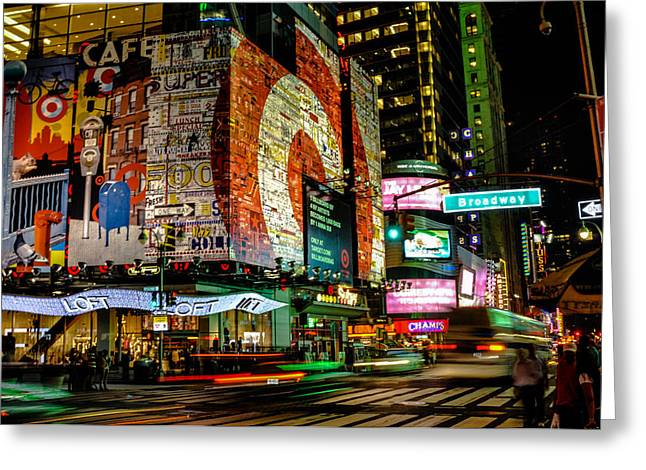 U2 Photographs Greeting Cards - Broadway Lights Greeting Card by Alex Hiemstra