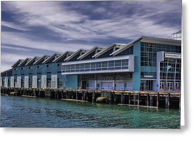 San Diego Harbor Cruise Greeting Cards - Broadway Pier San Diego Greeting Card by Photographic Art by Russel Ray Photos