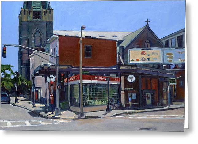 Print On Canvas Paintings Greeting Cards - Broadway Station Greeting Card by Deb Putnam