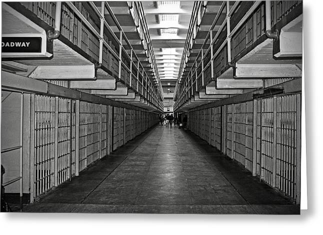 Birdman Greeting Cards - Broadway walkway in Alcatraz prison Greeting Card by RicardMN Photography