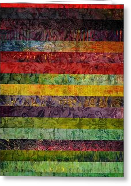 Geometric Design Greeting Cards - Brocade and Stripes Tower 1.0 Greeting Card by Michelle Calkins