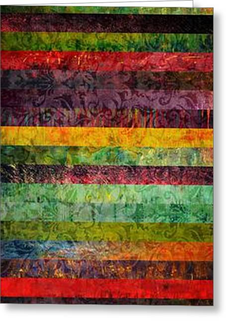 Geometric Design Greeting Cards - Brocade and Stripes Tower 2.0 Greeting Card by Michelle Calkins