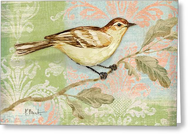 Fabric Greeting Cards - Brocade Songbird I Greeting Card by Paul Brent