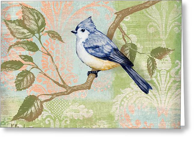Fabric Greeting Cards - Brocade Songbird II Greeting Card by Paul Brent