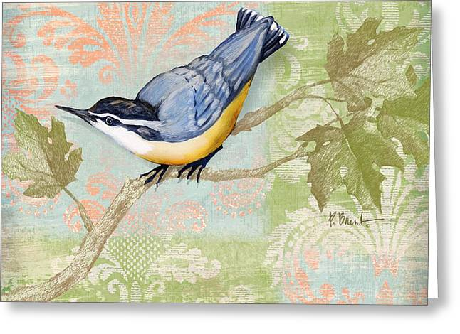 Fabric Greeting Cards - Brocade Songbird III Greeting Card by Paul Brent