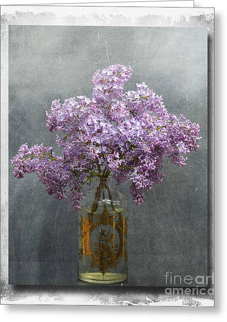 Eiffel Tower Mixed Media Greeting Cards - Brocante Chic Lilacs in Apothecary Bottle Greeting Card by AdSpice Studios