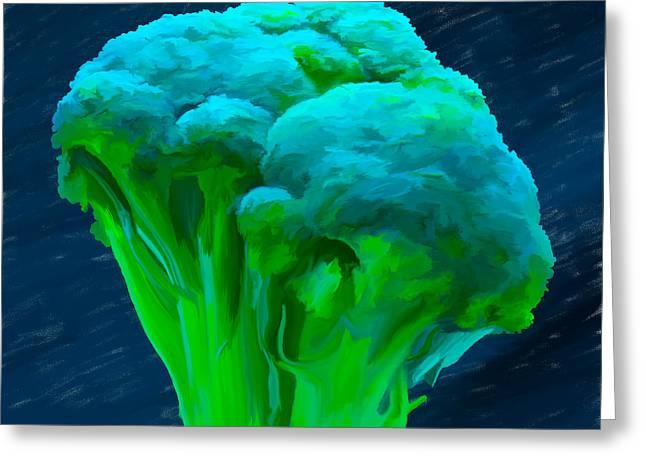 Broccoli Greeting Cards - Broccoli 01 Greeting Card by Wally Hampton