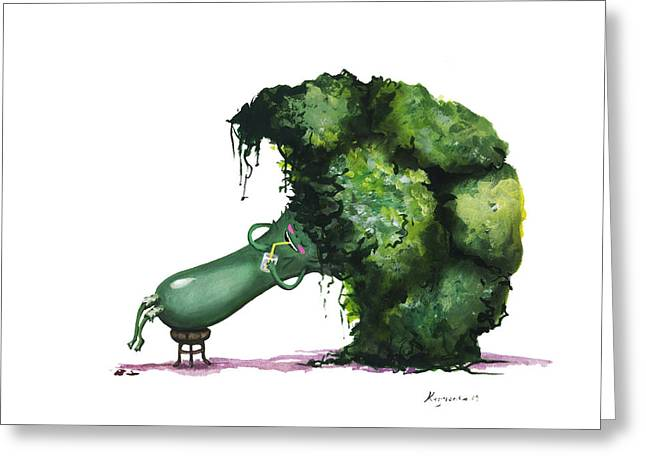 Broccoli Greeting Card by Alina  Kuzmenko