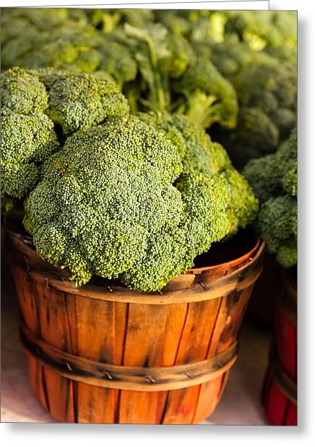 Broccoli In Baskets Greeting Card by Teri Virbickis