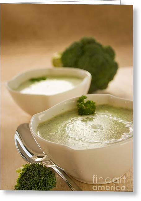 Broccoli Greeting Cards - Broccoli soup Greeting Card by Mythja  Photography