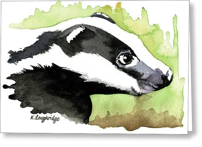 Brock Badger Greeting Card by Karen  Loughridge KLArt