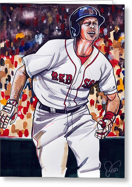 Brock Greeting Cards - Brock Holt of the Boston Red Sox Greeting Card by Dave Olsen