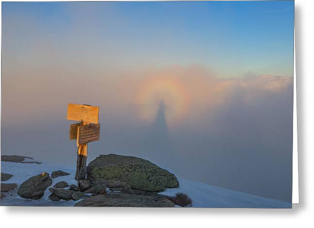 Brocken Greeting Cards - Brocken Spectre on Mount Lafayette Greeting Card by Christopher Whiton