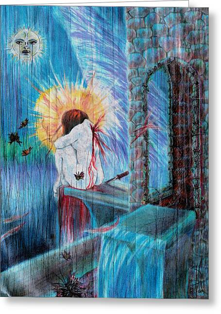 Religious Mixed Media Greeting Cards - Broken Angel Greeting Card by Kd Neeley