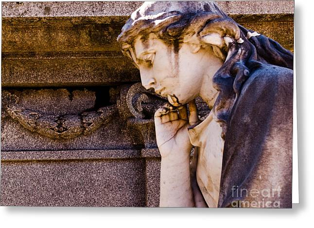 Religious Photographs Greeting Cards - Broken Angel Greeting Card by Sonja Quintero