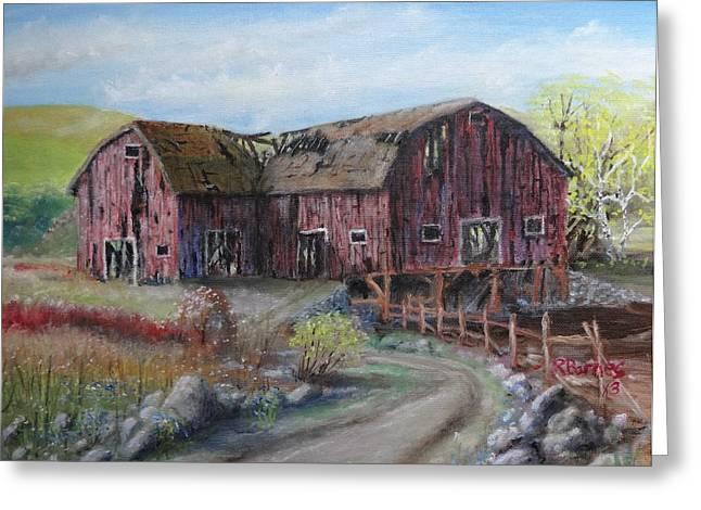 Rural Indiana Paintings Greeting Cards - Broken Barn Greeting Card by Ronald Barnes
