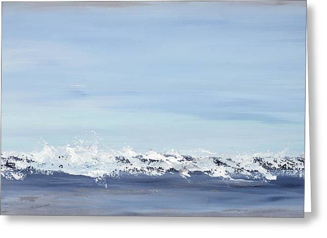 Recently Sold -  - Abstract Waves Greeting Cards - Broken Blue Greeting Card by Tamara Nelson