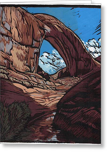 Linocut Paintings Greeting Cards - Broken Bow Arch - Linocut Print Greeting Card by Manny Mellor
