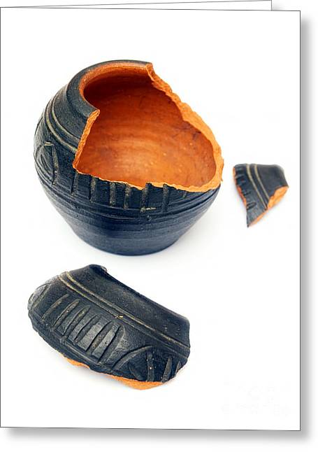 Pottery Pitcher Greeting Cards - Broken ceramic Greeting Card by Sinisa Botas