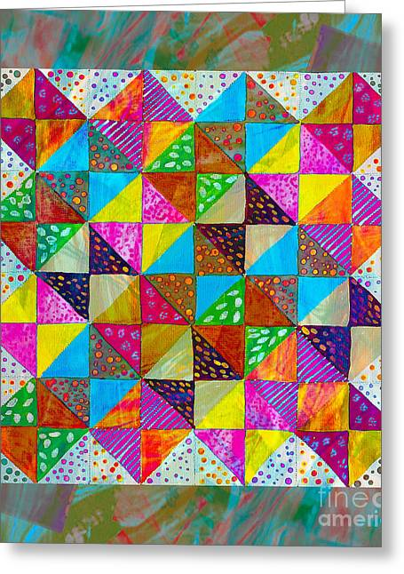 Barbara Griffin Quilts Greeting Cards - Broken Dishes - Quilt Pattern - Painting 2 Greeting Card by Barbara Griffin
