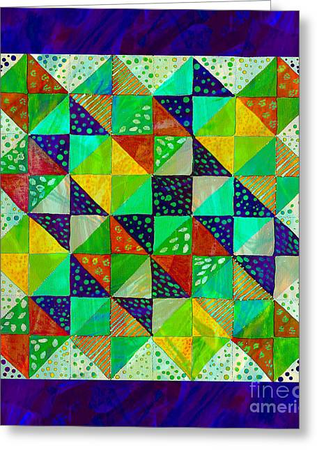 Barbara Griffin Quilts Greeting Cards - Broken Dishes - Quilt Pattern - Painting 3 Greeting Card by Barbara Griffin