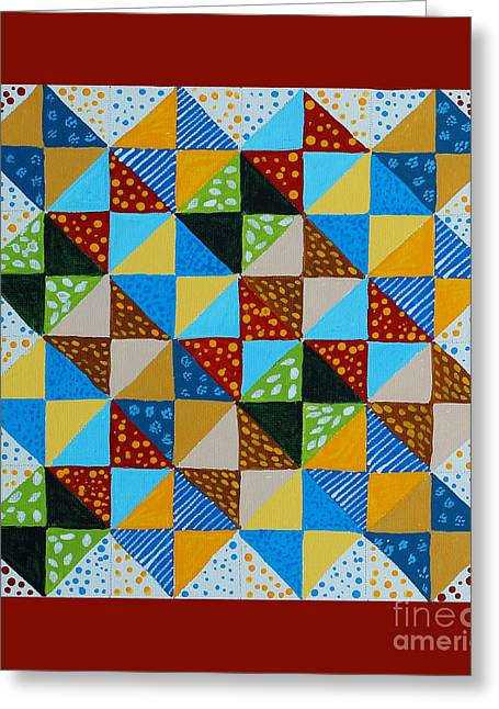 Broken Dishes - Quilt Pattern - Painting Greeting Card by Barbara Griffin