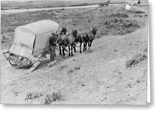 Broken Down Wagon On Prairie Greeting Card by Underwood Archives
