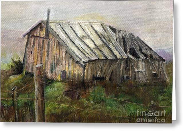 Shack Pastels Greeting Cards - Broken Economy Greeting Card by Micki Davis