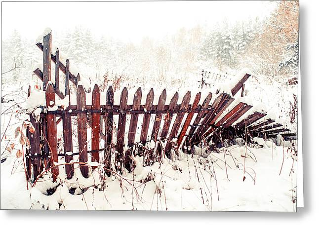 Russian Nature Greeting Cards - Broken Fence in Winter Greeting Card by Jenny Rainbow