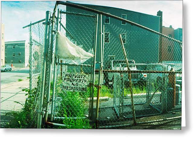 Williamsburg Greeting Cards - Broken Gate To A Construction Yard Greeting Card by Panoramic Images