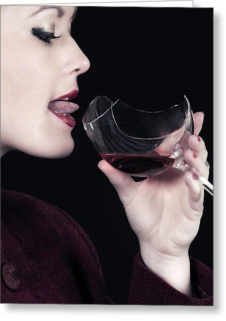 Wine Woman Greeting Cards - Broken Glass Greeting Card by Joana Kruse