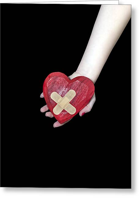 Doleful Greeting Cards - Broken Heart Greeting Card by Joana Kruse