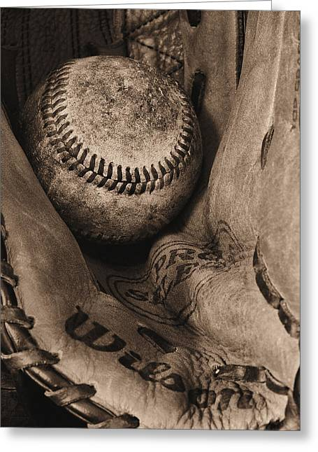 Minor Leagues Greeting Cards - Broken In BW Greeting Card by JC Findley