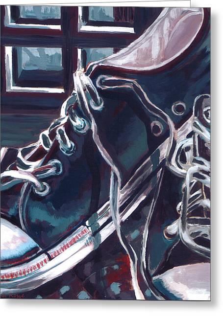 Sneakers Paintings Greeting Cards - Broken-in Converse Greeting Card by Shawna  Rowe