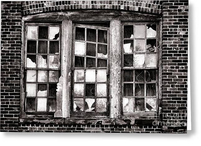 Glass Wall Greeting Cards - Broken Industrial Dreams Greeting Card by Olivier Le Queinec