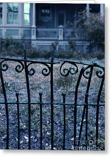 Clapboard House Greeting Cards - Broken Iron Fence by Old House Greeting Card by Jill Battaglia