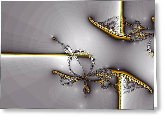 Golds Digital Art Greeting Cards - Broken Jewelry-Fractal Art Greeting Card by Lourry Legarde
