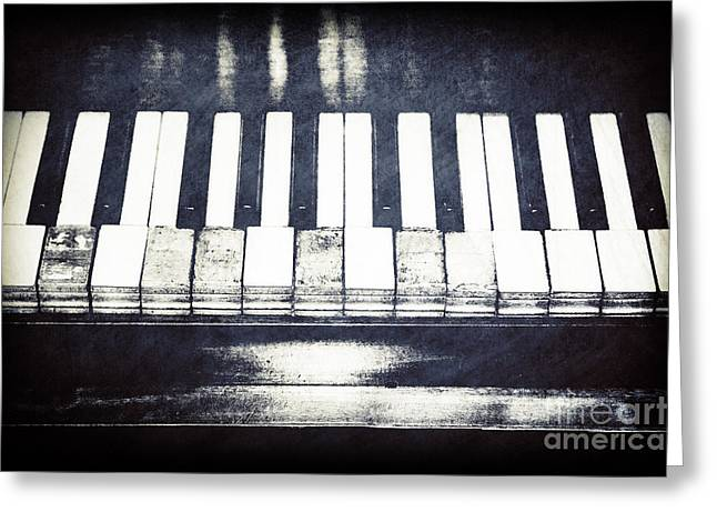 Old And New Greeting Cards - Broken Keys in Black and White Greeting Card by Emily Enz