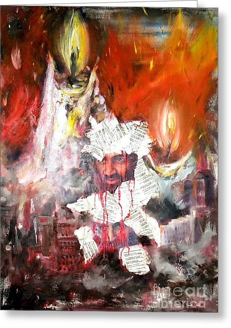 Bin Laden Greeting Cards - Broken Lives Greeting Card by Irene Pomirchy