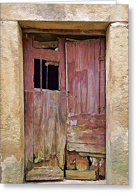 Medieval Entrance Greeting Cards - Broken Red Wood Door Greeting Card by David Letts