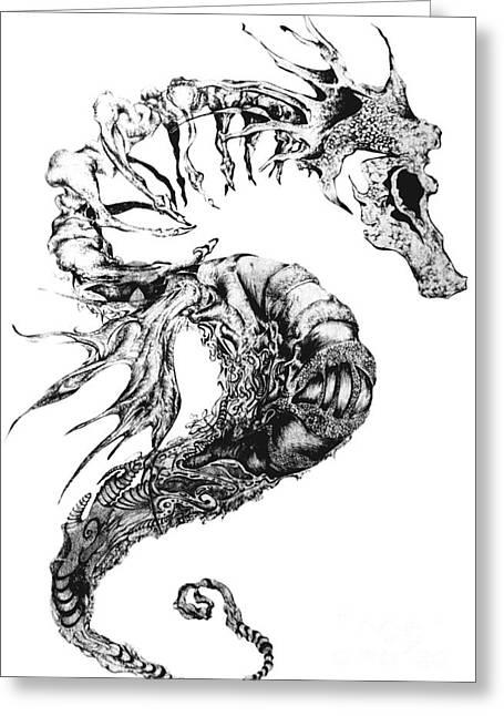 Aquatic Drawings Greeting Cards - Broken Seahorse Greeting Card by Penelope Fedor