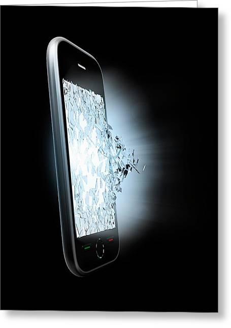 Broken Smartphone Screen Greeting Card by Andrzej Wojcicki