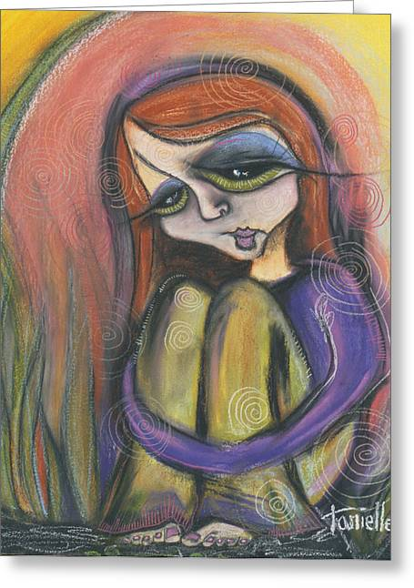 Self Portrait Pastels Greeting Cards - Broken Spirit Greeting Card by Tanielle Childers