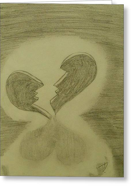 Broken Heart Drawings Greeting Cards - Broken Greeting Card by Thomasina Durkay