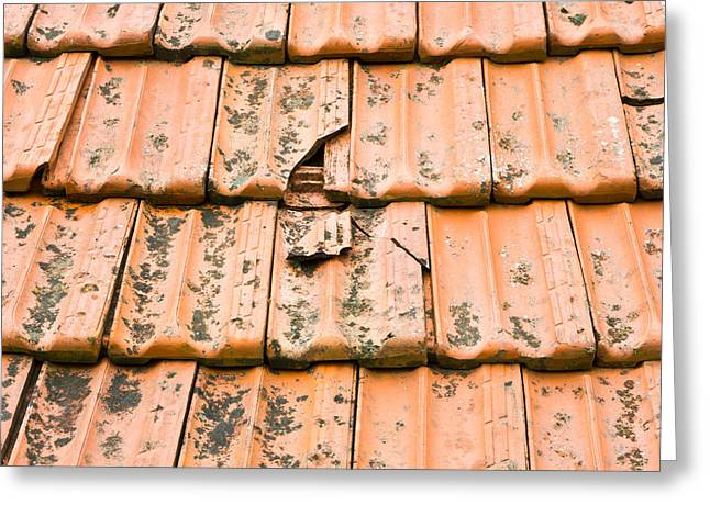 Red Tile Roof Greeting Cards - Broken tiles Greeting Card by Tom Gowanlock