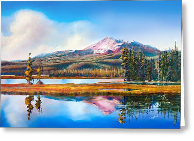 Pat Cross Greeting Cards - Broken Top on Sparks Lake Greeting Card by Pat Cross